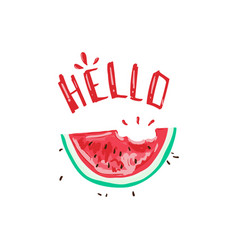 hello tropical summer slogan with watermelon vector image
