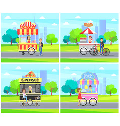 hot dog pizza street sellers vector image