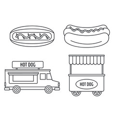 hot dog shop cart icon set outline style vector image