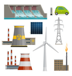 Icons power stations vector