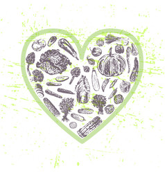 Ink hand drawn veggies in heart shape vector
