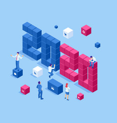 isometric a happy new year 2020 greetings vector image