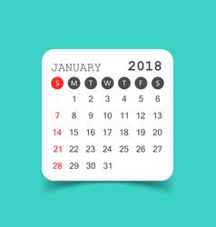 January 2018 calendar calendar sticker design vector