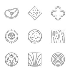 kitchen sliced vegetables icon set outline style vector image