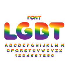 Lgbt font rainbow letters gay alphabet abc vector