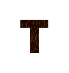 logo letter t wood texture vector image