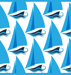 marine seamless pattern with ships on the waves vector image