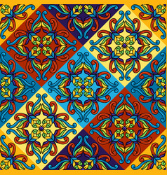 Mexican talavera ceramic tile seamless pattern vector