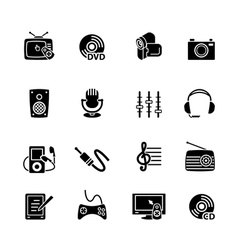 Multimedia computer icon set vector image