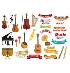 Musical instruments music ribbon emblems vector