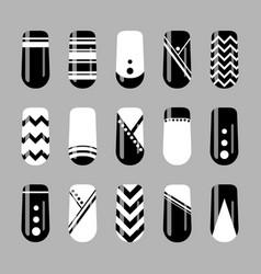 Nail art design set of black and white nails vector