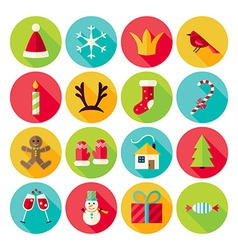 New Year and Merry Christmas Circle Icons Set with vector