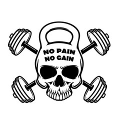 no pain no gain skull in kettlebell form and vector image