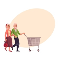 Old senior elder couple shopping together vector