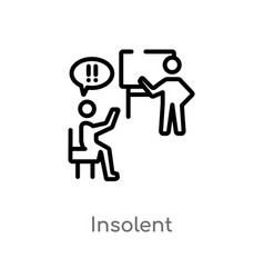 Outline insolent icon isolated black simple line vector