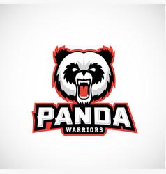 Panda warriors abstract sign emblem vector