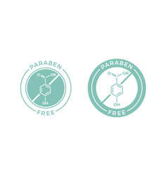 Paraben free skincare cosmetic label icon vector