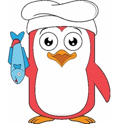 Penguin Chef Holding a Fish vector