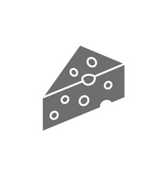 Piece of cheese with holes delicacy grey icon vector
