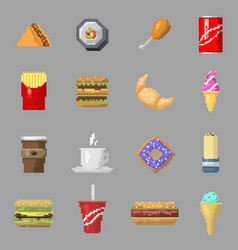 Pixel art food icons isolated vector