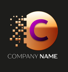 Purple letter c logo symbol in golden pixel circle vector
