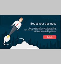 rocket businessman website header template vector image