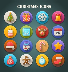 Round Bright Icons with Long Shadow - Christmas vector