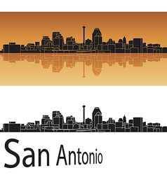 San Antonio skyline in orange background vector image
