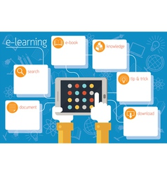 School Online E-Learning Infographic vector image