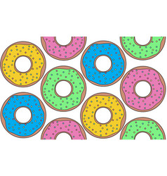 seamless colorful contour pattern with donuts top vector image