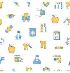seamless pattern with dental icons set vector image