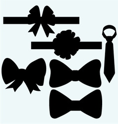Set gift bows with ribbons and tie vector image