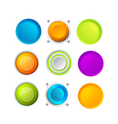 Set of blank colorful buttons vector