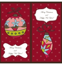 Set of christmas and new year cards with toys vector image