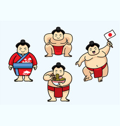 Set of cute sumo japan character vector