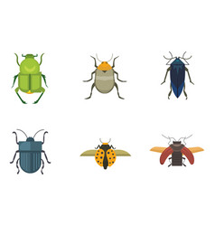 set of insects flat style design icons vector image