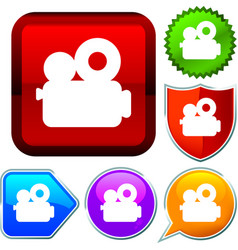 Set shiny icon series on buttons cinema vector