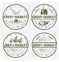 set vintage labels green market with tractor vector image