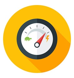 Slow and fast speedometer flat circle icon vector