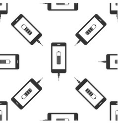 smartphone battery charge icon seamless pattern vector image