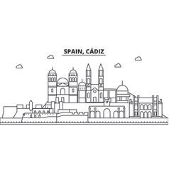 Spain cadiz architecture line skyline vector