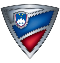 steel shield with flag slovenia vector image vector image