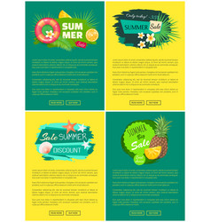 summer sale tropical banners advertisement labels vector image