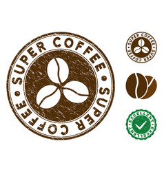 Super coffee stamp with dust effect vector