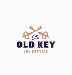the old key abstract sign symbol or logo vector image