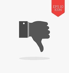 Thumb down dislike icon Flat design gray color vector image