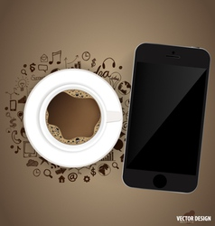 Touchscreen device and a cup of coffee with vector image