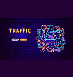 transport traffic neon banner design vector image