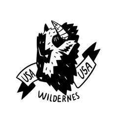 Usa wilderness adventure retro logo design vector