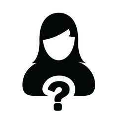 User icon with question mark symbol with female vector